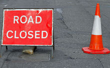 Road closed sign, road cone, generic
