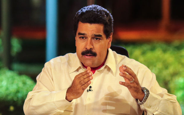 Venezuelan President Nicolas Maduro speaking on a TV programme at the presidential palace in Caracas on 10 May 10 2016.