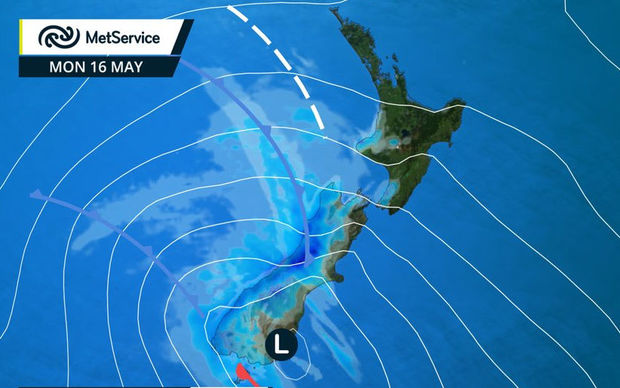 MetService weather map 16 May 2016.