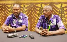 Vanuatu Prime Minister Charlot Salwai and Pacific Games Council President Vidhya Lakhan at the PGC General Assembly.