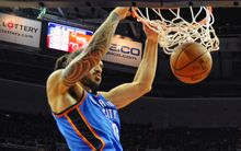 The Thunder's Steven Adams dunks the ball.