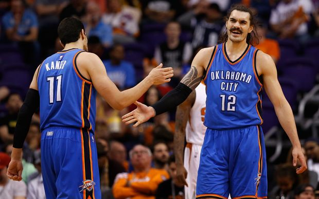 Steven Adams and his Oklahoma City Thunder teammate Enes Kanter.