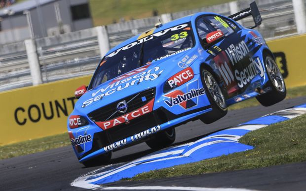 Scott McLaughlin gets airborne in his Volvo.