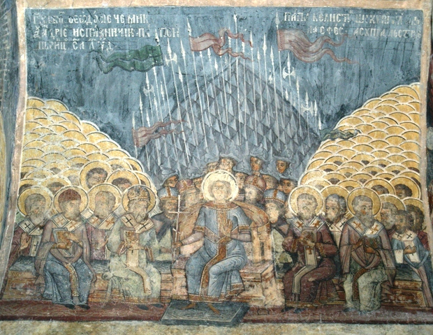 The First Council of Constantinople, wall painting at the Church of Stavropoleos, Bucharest, Romania
