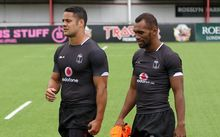 Fiji's Jarryd Hayne with captain Osea Kolinisau at training in London.