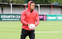 Jarryd Hayne gets to grips with the 15-a-side game at training.