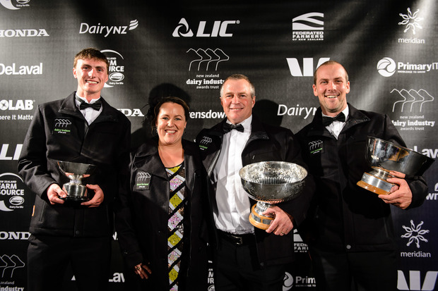 Nicholas Bailey Dairy Trainee of the Year, Mark and Jaime Arnold Share Farmers of the Year, Thomas Chatfield Dairy Manager of the Year