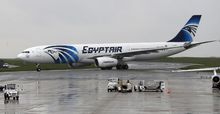 An Egyptair Airbus A330 from Cairo taxiing on an airport near Paris after landing a few hours after the MS804 Egyptair flight disappeared.