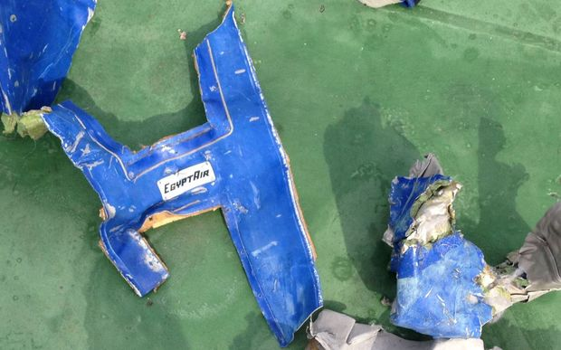 A picture uploaded on the official Facebook page of the Egyptian military spokesperson on May 21, 2016 and taken from an undisclosed location reportedly shows some debris that the search teams found in the sea after the EgyptAir Airbus A320 crashed in the Mediterranean.