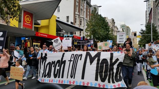 Hundreds marched to end family violence at Aotea Square on Sunday.