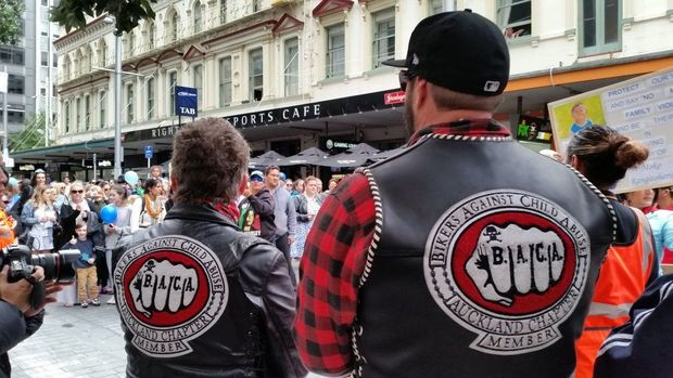 Bikers marching against child abuse