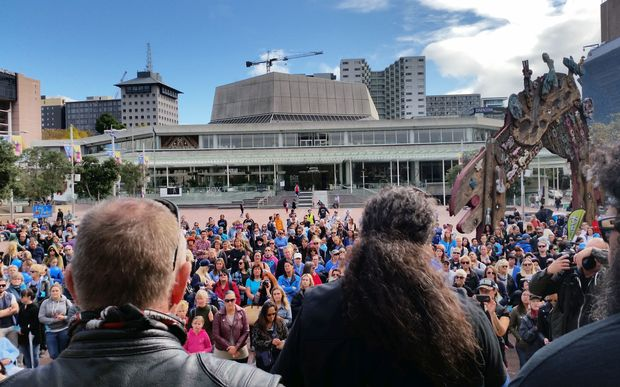 Hundreds gathered at Aotea Square to make a stand on family violence.