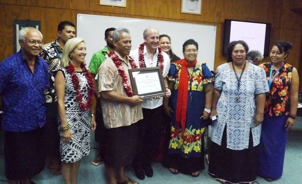 The US Ambassador Mark Gilbert with staff at Samoa's National University
