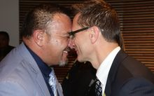 Tamati Olsen hongi with Peter Fraser from the Office of Treaty Settlements.