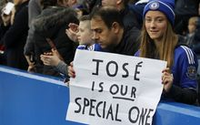 Fans show their support for sacked manager Jose Mourinho during the English Premier League football match between Chelsea and Sunderland.