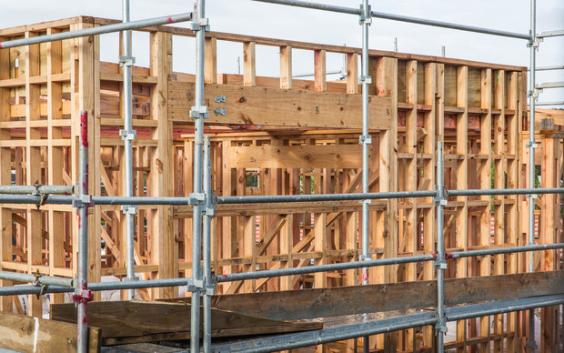 Building framing at a housing construction site in an East Auckland suburb.