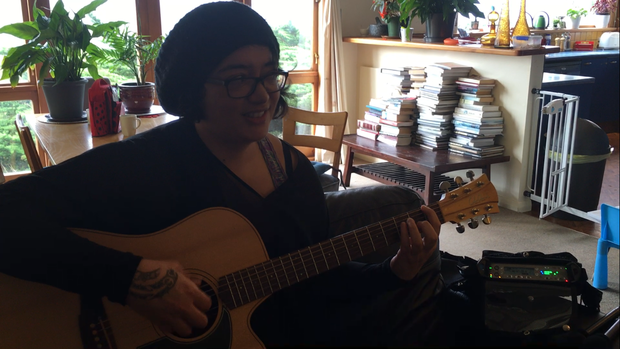 Puawai with her Cole Clark Guitar, Betty