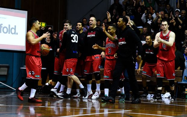 Canterbury Rams celebrate their win in the NBL.