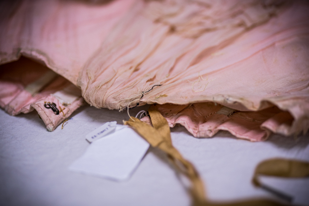 Detail of pink taffeta boned bodice. Late 19th century. Eppinghoven Collection; Otago Museum Collection.