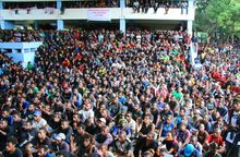 University of Papua New Guinea students gather to discuss their demand for the prime minister's resignation.