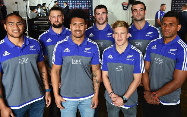 Debut All Blacks L-R Ofa Tu'ungafasi, Elliot Dickson, Ardie Savea, Liam Squire, Damian McKenzie, Tom Franklin (who is only in the squad as an injury replacement to Sam Whitelock) and Seta Tamanivalu.