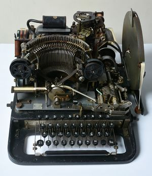 The teleprinter part of a Lorenz cipher machine that was purchased by the National Museum of Computing from eBay for 10 pounds.