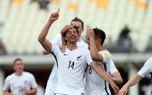 Rory Fallon celebrates after scoring for All Whites, OFC Nations Cup 2016.