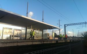 Police at the Glen Innes station this morning.