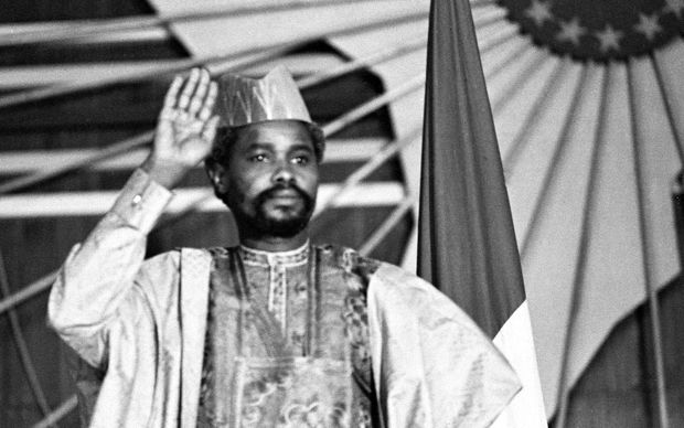 A picture taken on August 16, 1983 shows Chad's president Hissen Habre during a press conference in N'Djamena. A special court in Senegal was due to deliver its verdict on May 30, 2016 in the war crimes trial of former Chadian dictator Hissene Habre