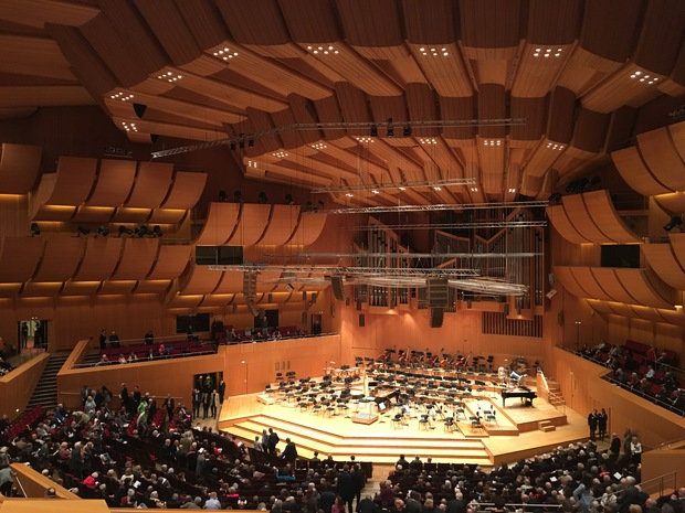 Inside the Gasteig concert hall, for a performance by the Munich Philharmonic and soprano Barbara Hannigan.