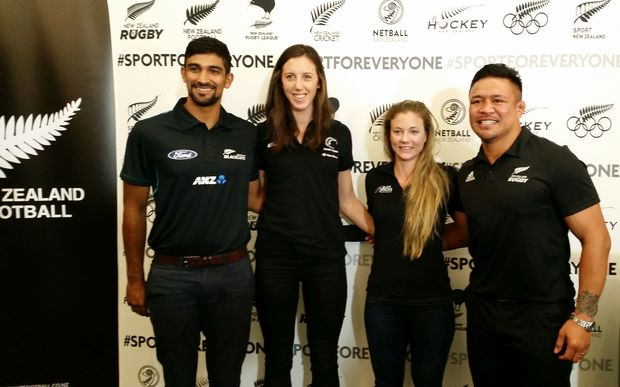 Keven Mealamu (right) joins with fellow athletes to stand against discrimination in sport.