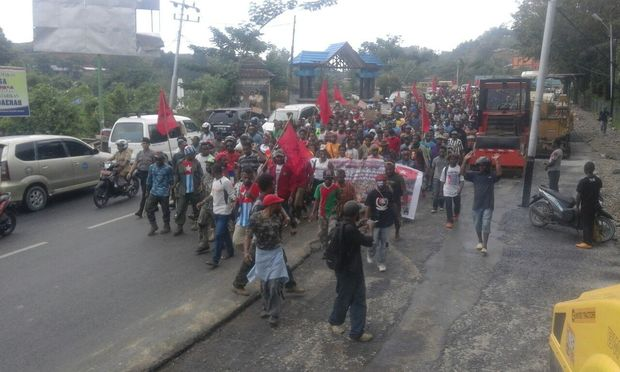 West Papuans in Manokwari march in support of the United Liberation Movement for West Papua.