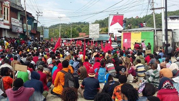 A large peaceful demonstration in Jayapura in support of the United Liberation Movement for West Papua.