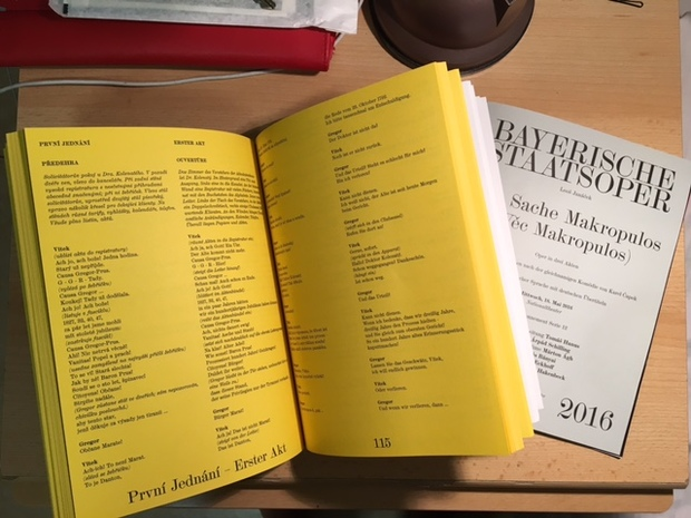 The sizeable libretto and programme for Janáček's opera 'The Makropoulos Affair'