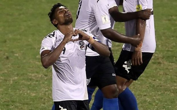 Roy Krishna celebrates scoring the winning goal against Solomon Islands.