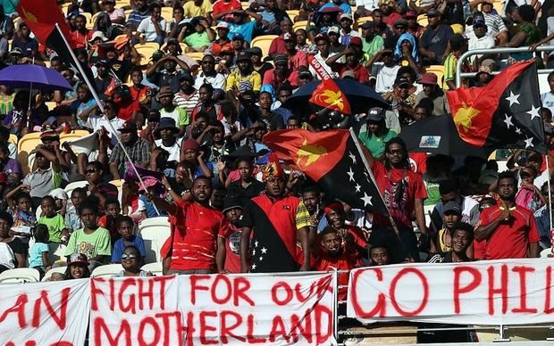 Papua New Guinea fans show their support at the Nations Cup.