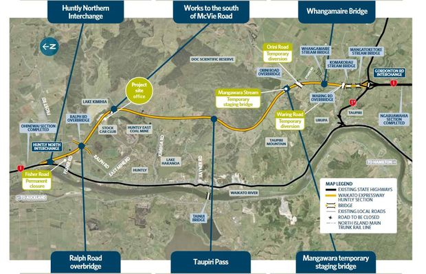 An update provided by NZTA on 1 June 2016 shows work under way on the Huntly Bypass.
