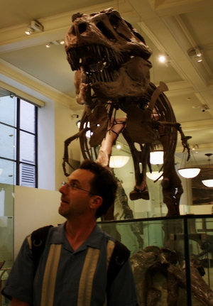 Philip Armstrong (and T Rex) at the American Museum of Natural History.