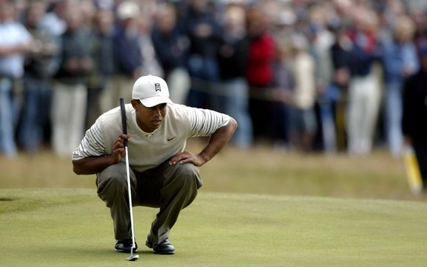 Tiger Woods playing the Open Championship at Royal Troon 2004.