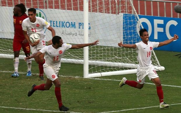 Tahiti's Teaonui Tehau scores the equalising goal against PNG.