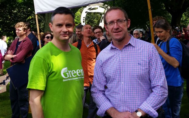 Green Party co-leader James Shaw, left, and Labour leader Andrew Little at a climate march in Auckland.