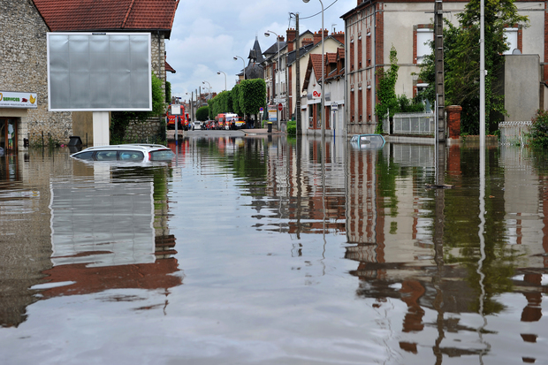 Flooded streets at Montargis, south of Paris, on Wednesday.