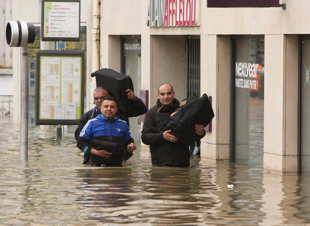 Floodwaters in Nemours, southeast of Paris, forced thousands out of their homes.