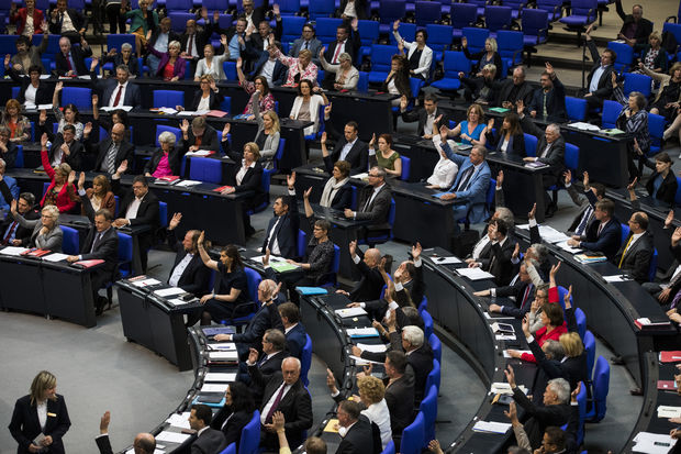 Law makers vote to recognise the Armenian genocide after a debate during the 173rd sitting of the Bundestag, the German lower house of parliament, in Berlin on June 2, 2016.