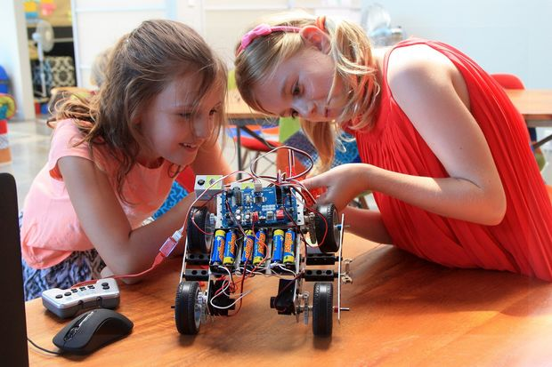 Children get under the bonnet of robotics at the Mindlab in Auckland