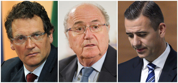Former Fifa officials (from left) Jerome Valcke,Sepp Blatter and Markus Kattner.