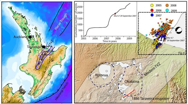 Maps indicating (left) the study area and (right) the modern Taupo Volcanic Zone (grey transparency), Okataina and Rotorua Caldera boundaries (dashed lines) and relocated 2005-2009 Matata earthquake swarm.