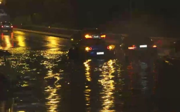 Drivers are trapped by rising floodwaters in New South Wales.