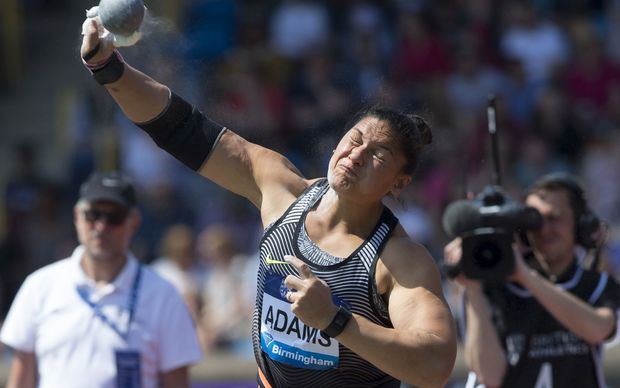 Valerie Adams competes at the Birmingham meeting of the Diamond League, 2016.