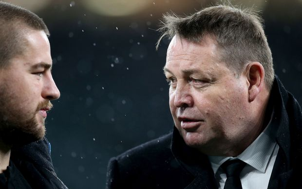 All Blacks coach Steve Hansen (R) is looking to Dane Coles (L) to provide leadership for younger players.